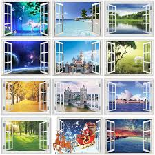 3d Fake Window Wall Stickers For Office Living Room Bedroom Home Decoration Sea Hill Animal Forest Space Scenery Mural Art Decal Leather Bag