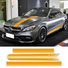 Auto Side Skirt Car Sticker Car Hood Roof Racing Stripe Side Body Garland For Mercedes Benz C63 Amg Coupe Buy At The Price Of 39 20 In Aliexpress Com Imall Com