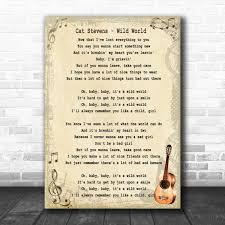 Cat Stevens Wild World Song Lyric Vintage Music Wall Art Print - Song Lyric  Designs