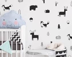 Black White Deer Fox Forest Tree Wall Stickers Gallery Wallrus Free Worldwide Shipping