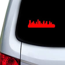 Amazon Com Stickany Car And Auto Decal Series Houston Texas Skyline 4 Sticker For Windows Doors Hoods Red Automotive