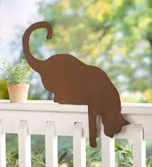 Cat Metal Sculpture Fence Topper Wind And Weather