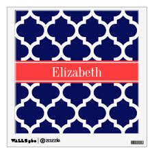 Navy Quatrefoil Wall Decals Stickers Zazzle
