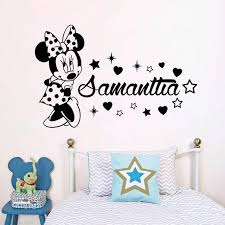 Best Deal C1bab2 Disney Minnie Mouse Wall Stickers Custom Name Girls Bedroom Accessories For Kids Room Personalized Name Animal Nursery Decor Cicig Co