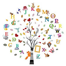 Amazon Com Ufengke Alphabet Abc Tree Wall Stickers Animals Letters Wall Decals Wall Decor For Kids Bedroom Nursery Living Room Baby