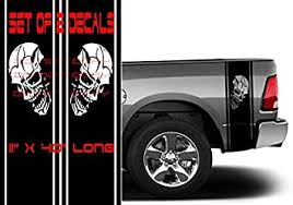 Amazon Com Coza Skull Punisher Rear Bed Vinyl Decals Compatible With Dodge Ram 1500 2500 Ford Tundra Tacoma Toyota Or Any Pickup Truck Black Automotive