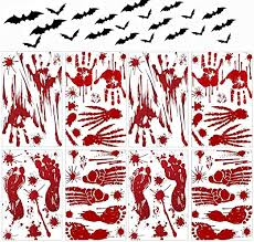 Amazon Com 128 Pcs Halloween Party Decoration Decal Zombie Bloody Handprint Footprint Stickers Scary Window Decals And Weird Bats Stickers For Halloween Party Indoor Supplies Wall Door Floor Sticker Clings Kitchen Dining