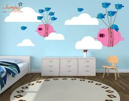 Chamber Decals Cute Flying Pigs Bullying Birds Wall Decals