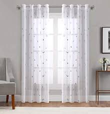 Amazon Com Grommet Top Sheer Curtains For Space Theme Bedroom Silver Star Print Window Panels With Solid Transparent Voile Base Perfect For Kids And Living Room 54 Inch Wide By 84 Inch Long