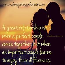 a great relationship is when an imperfect couple learns to enjoy