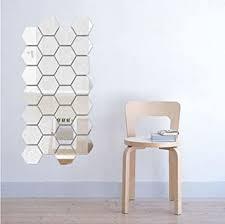Amazon Com Aimtoppy 12pcs 3d Mirror Hexagon Vinyl Removable Wall Sticker Decal Home Decor Art Diy Silver Home Improvement