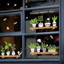 Plant Glass Potted Shop Window Stickers Flower Pot Diy Wall Decals Homen Cafe Decor Decal Waterproof Wallpapers Wall Sticker Y20 Wall Stickers Aliexpress