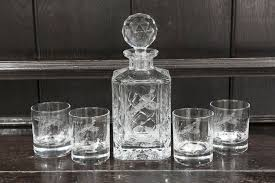 engraved crystal decanter and 4 whisky
