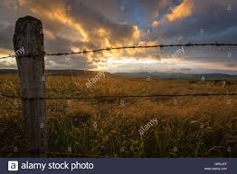 Old Rustic Wooden Post And Barbed Wire Fence And A Colorful Sunset Stock Photo Alamy