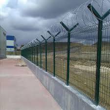 China Green Color Razor Wire Metal Welded Mesh Perimeter Fencing For Security China Welded 3d Fence Panel V Bending Fence Panel