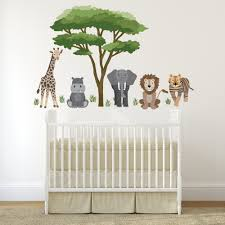 Safari Animal Wall Decals And Acacia Tree Decals Nursery Wall Decals