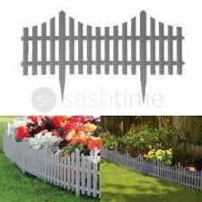 4 Grey Plastic Wooden Effect Lawn Border Edge Garden Edging Picket Fencing Set Ebay