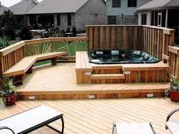 Marvelous Hot Tub Privacy Fence Ideas With Solar Pool Deck Lighting On Top Of Wooden Pool Deck Kits Also Pai Hot Tub Patio Patio Deck Designs Relaxing Backyard