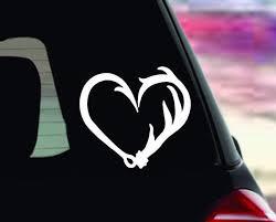 Fishing Window Truck Decal Sticker Fish Hook Heart Decal Etsy