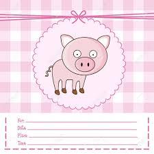 Ilustracion De La Invitacion Con Un Cerdo Lindo Ilustracion