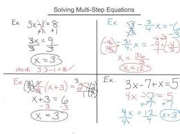 solving multi step equations 8th grade