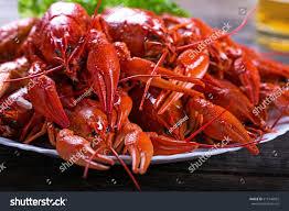 Big Plate Tasty Boiled Lobsters Closeup ...
