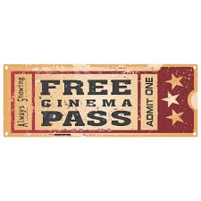 Free Cinema Pass Old Time Movie Ticket Metal Sign At Retro Planet