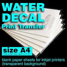 Clear Water Slide Decal Paper A4 Inkjet Waterslide Transfer Etsy