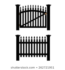 Black Wooden Fence Closed Garden Gate Stock Vector Royalty Free 262721951