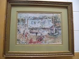 Vintage Polly King watercolor signed framed 13 1/2x 11 landscape ...