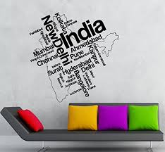 Amazon Com Wall Stickers Vinyl Decal India New Delhi Indian Map Ig1788 Home Kitchen