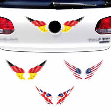 1pcs Wing Car Auto Body Sticker Reflective Self Adhesive Side Truck Graphics Decals American Flag England Flag German Flag Wish
