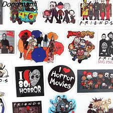 Bg158 Dongmanli 19pcs Set Killers Horror Movies Friends Stickers For Snowboard Laptop Luggage Fridge Car Decal Halloween Sticker Chain Necklaces Aliexpress
