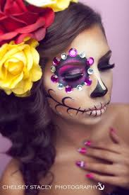 sugar skull makeup half face sugar