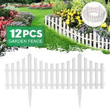 20 5 High Set Of 12 White Vinyl Picket Garden Border Fence 31 5 Ft Long Garden Border Fencing Fence Panels Outdoor Landscape Decor Edging Yard Walmart Com Walmart Com