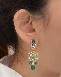 emerald drop chandelier earrings