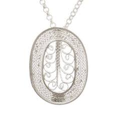 oval sterling silver filigree pendant