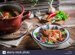 Tasty seafood soup with mix of ...