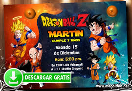 Dragon Ball Z Invitaciones Cumpleanos Mega Idea