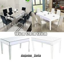 glass mirrored dining table high gloss