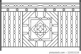 Wrought Iron Gate Door Fence Window Grill Stock Illustration 12053110 Pixta