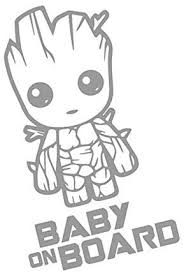 Amazon Com Yingkai Baby On Board Baby Groot Guardians Of The Galaxy Car Decal Vinyl Wall Decal Sticker Vinyl Lettering Removable Decal For Car Laptop Decoration Light Gray Home Kitchen