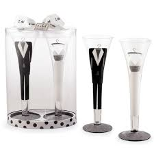 decorated wedding champagne flute glass