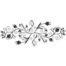 Swirls Wall Decal Large Silhouette Wall Art Black Wall Stickers Floral Wall Sticker