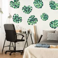 Tropical Philodendron Watercolor Wall Decal Tropical Plant Wall Mural By Chromantics