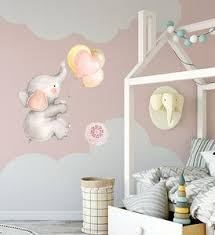 Boho Elephant Balloons Watercolor Wall Decal Sticker Heart Baby Nurser Pink Forest Cafe