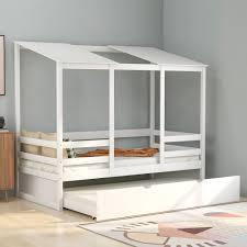 Euroco Kids Beach House Bed With Trundle Twin Size White Walmart Com Walmart Com
