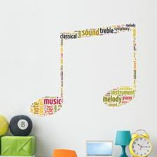 Yellow Eighth Note Music Symbol Word Art Wall Decal Wallmonkeys Com