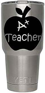Amazon Com A Teacher Apple Decals Black For Yeti Cups We Don T Sell Tumblers Teachers Educator Vinyl Decal Quote Sticker For All Brands Of Tumblers Mugs And Cups Decals 2 75 H X