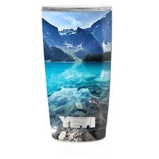 Skin Decal For Yeti 20 Oz Rambler Tumbler Cup Mountain Lake Clear Water For Sale Online